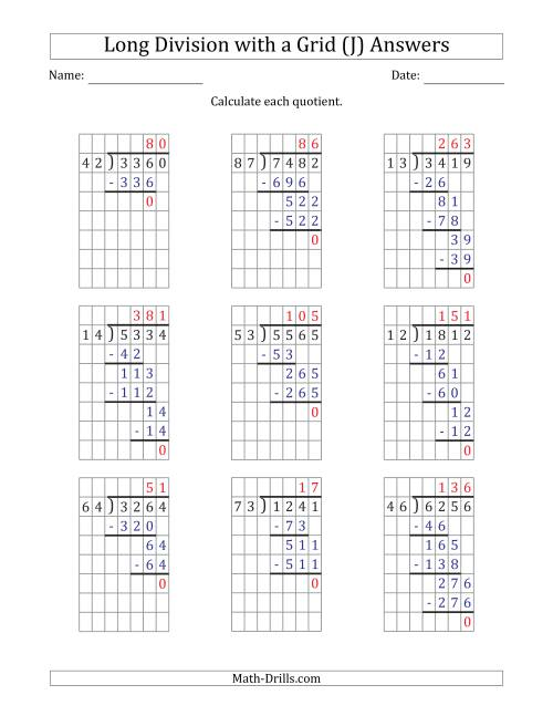 The 4-Digit by 2-Digit Long Division with Grid Assistance and NO Remainders (J) Math Worksheet Page 2