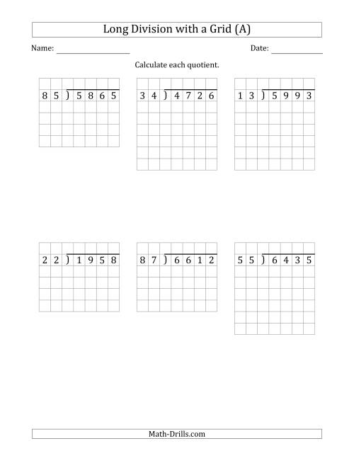 The 4-Digit by 2-Digit Long Division with Grid Assistance and NO Remainders (Old) Math Worksheet
