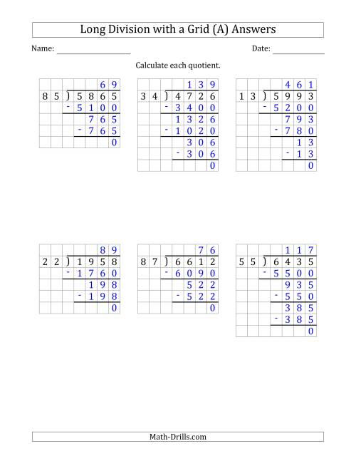 The 4-Digit by 2-Digit Long Division with Grid Assistance and NO Remainders (Old) Math Worksheet Page 2