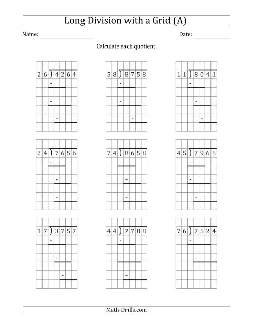 The 4-Digit by 2-Digit Long Division with Grid Assistance and Prompts and NO Remainders (A) Math Worksheet