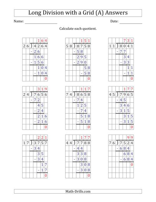 The 4-Digit by 2-Digit Long Division with Grid Assistance and Prompts and NO Remainders (A) Math Worksheet Page 2
