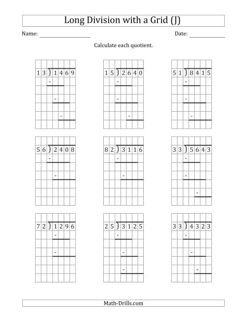 The 4-Digit by 2-Digit Long Division with Grid Assistance and Prompts and NO Remainders (J) Math Worksheet
