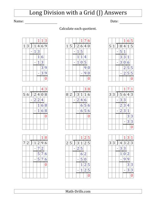 The 4-Digit by 2-Digit Long Division with Grid Assistance and Prompts and NO Remainders (J) Math Worksheet Page 2