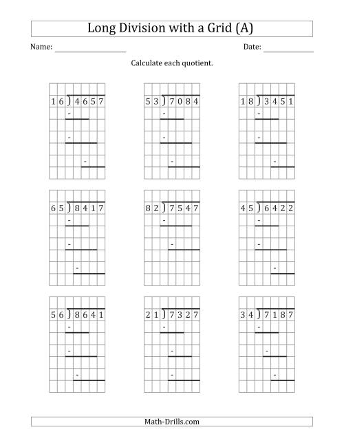 The 4-Digit by 2-Digit Long Division with Remainders with Grid Assistance and Prompts (A) Math Worksheet