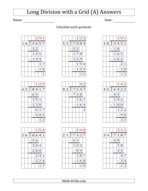 The 4-Digit by 2-Digit Long Division with Remainders with Grid Assistance and Prompts (A) Math Worksheet Page 2