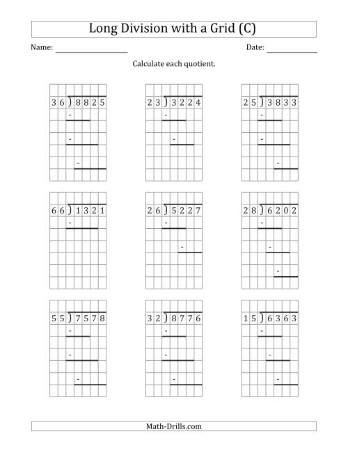 The 4-Digit by 2-Digit Long Division with Remainders with Grid Assistance and Prompts (C) Math Worksheet