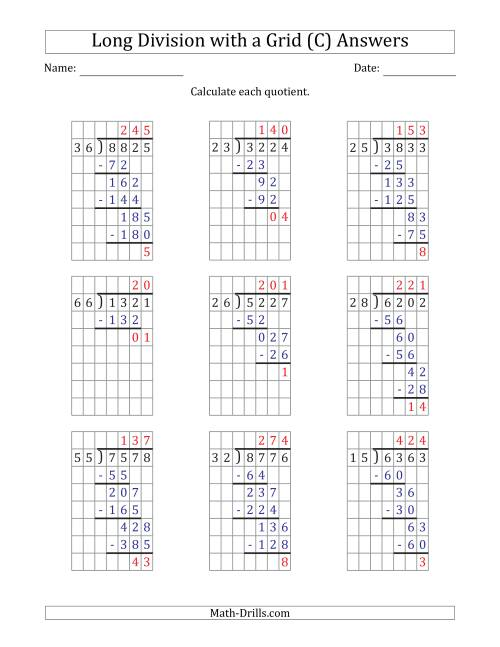 The 4-Digit by 2-Digit Long Division with Remainders with Grid Assistance and Prompts (C) Math Worksheet Page 2
