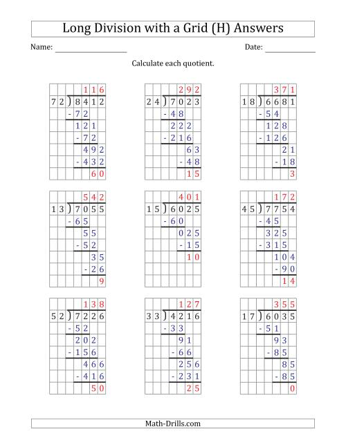 The 4-Digit by 2-Digit Long Division with Remainders with Grid Assistance and Prompts (H) Math Worksheet Page 2