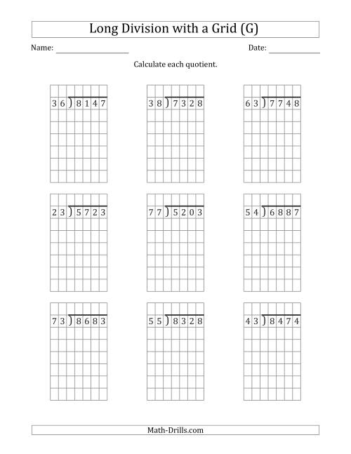 The 4-Digit by 2-Digit Long Division with Remainders with Grid Assistance (G) Math Worksheet