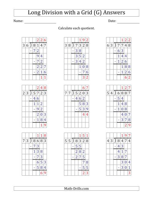 The 4-Digit by 2-Digit Long Division with Remainders with Grid Assistance (G) Math Worksheet Page 2