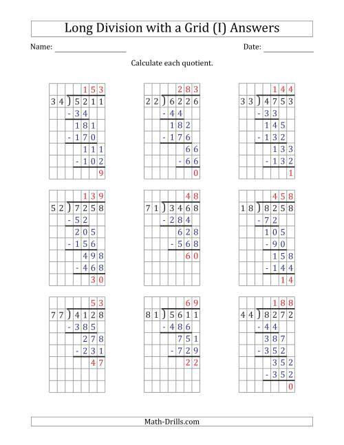 The 4-Digit by 2-Digit Long Division with Remainders with Grid Assistance (I) Math Worksheet Page 2