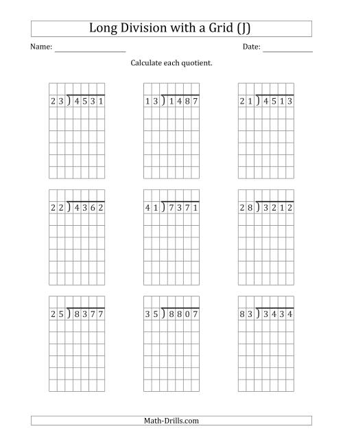 The 4-Digit by 2-Digit Long Division with Remainders with Grid Assistance (J) Math Worksheet