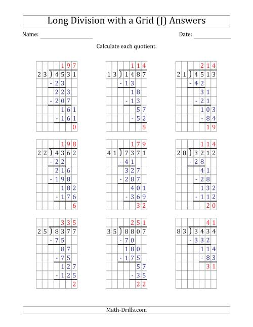 The 4-Digit by 2-Digit Long Division with Remainders with Grid Assistance (J) Math Worksheet Page 2
