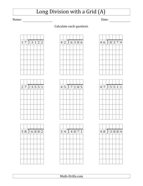The 4-Digit by 2-Digit Long Division with Remainders with Grid Assistance (All) Math Worksheet