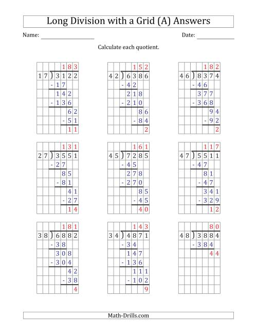 The 4-Digit by 2-Digit Long Division with Remainders with Grid Assistance (All) Math Worksheet Page 2