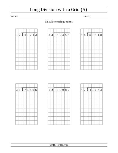 The 5-Digit by 2-Digit Long Division with Grid Assistance and NO Remainders (All) Math Worksheet