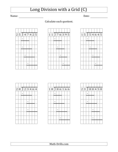 The 5-Digit by 2-Digit Long Division with Grid Assistance and Prompts and NO Remainders (C) Math Worksheet
