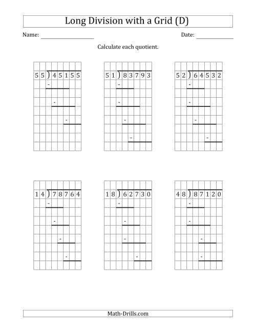 The 5-Digit by 2-Digit Long Division with Grid Assistance and Prompts and NO Remainders (D) Math Worksheet