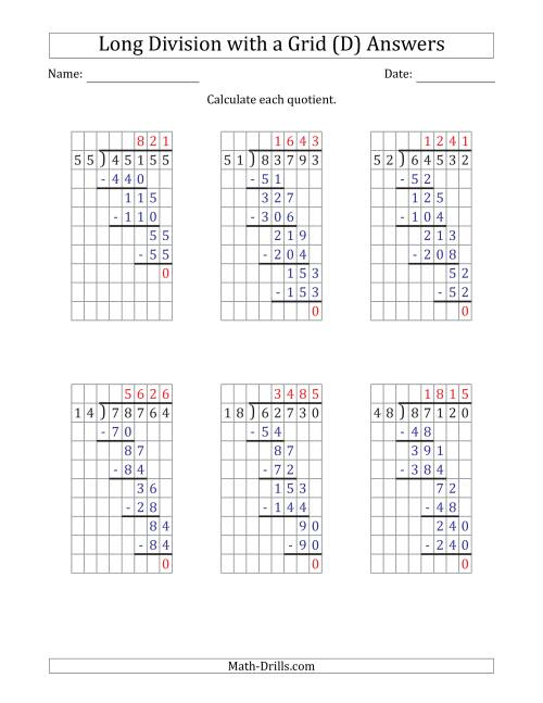 The 5-Digit by 2-Digit Long Division with Grid Assistance and Prompts and NO Remainders (D) Math Worksheet Page 2