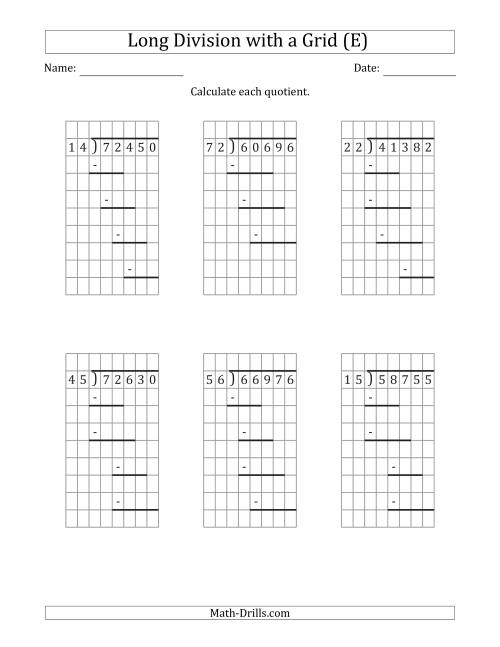 The 5-Digit by 2-Digit Long Division with Grid Assistance and Prompts and NO Remainders (E) Math Worksheet