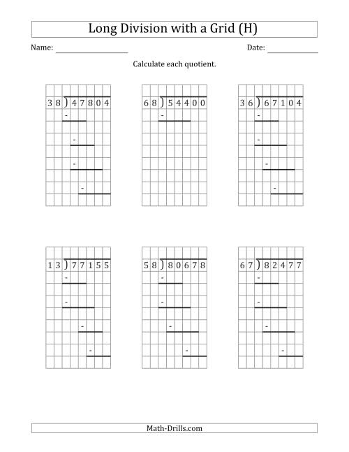 The 5-Digit by 2-Digit Long Division with Grid Assistance and Prompts and NO Remainders (H) Math Worksheet