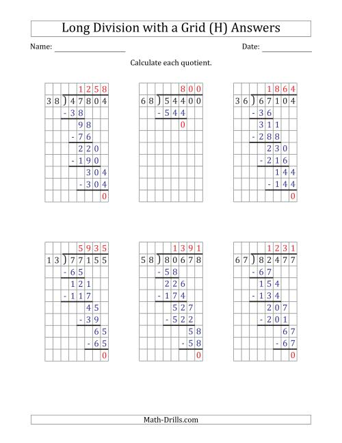 The 5-Digit by 2-Digit Long Division with Grid Assistance and Prompts and NO Remainders (H) Math Worksheet Page 2