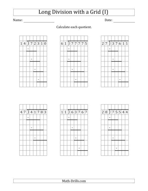 The 5-Digit by 2-Digit Long Division with Grid Assistance and Prompts and NO Remainders (I) Math Worksheet