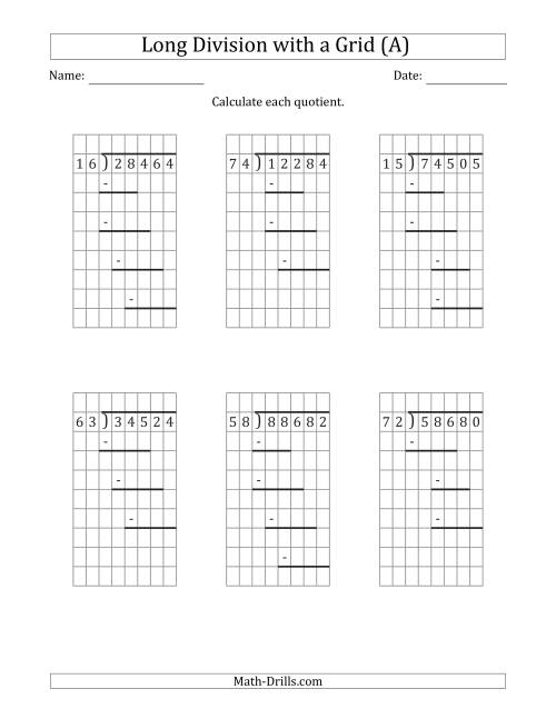 The 5-Digit by 2-Digit Long Division with Grid Assistance and Prompts and NO Remainders (All) Math Worksheet