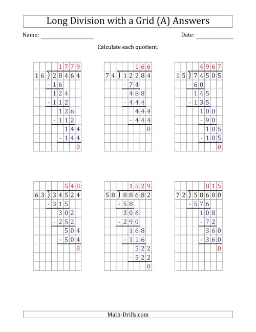 The 5-Digit by 2-Digit Long Division with Grid Assistance and Prompts and NO Remainders (All) Math Worksheet Page 2