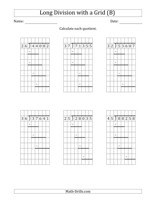 The 5-Digit by 2-Digit Long Division with Remainders with Grid Assistance and Prompts (B) Math Worksheet