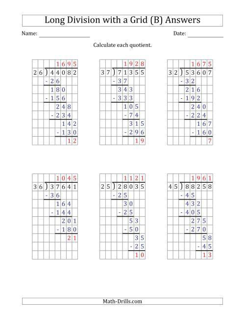 The 5-Digit by 2-Digit Long Division with Remainders with Grid Assistance and Prompts (B) Math Worksheet Page 2