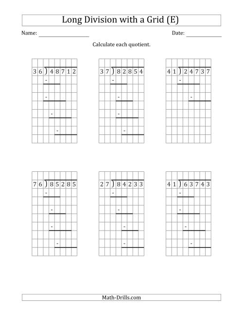 The 5-Digit by 2-Digit Long Division with Remainders with Grid Assistance and Prompts (E) Math Worksheet