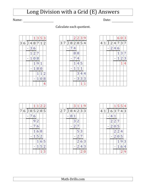 The 5-Digit by 2-Digit Long Division with Remainders with Grid Assistance and Prompts (E) Math Worksheet Page 2