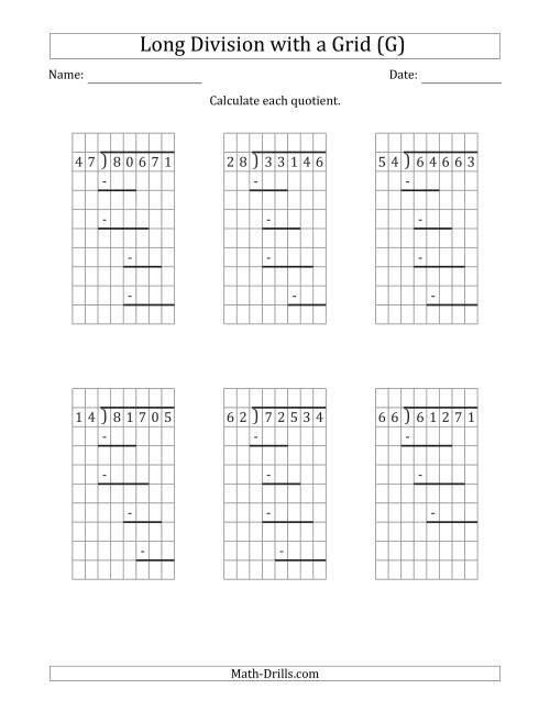The 5-Digit by 2-Digit Long Division with Remainders with Grid Assistance and Prompts (G) Math Worksheet