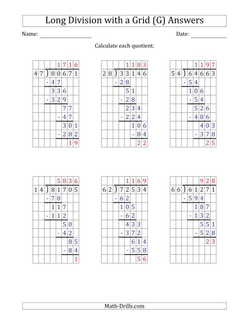 The 5-Digit by 2-Digit Long Division with Remainders with Grid Assistance and Prompts (G) Math Worksheet Page 2
