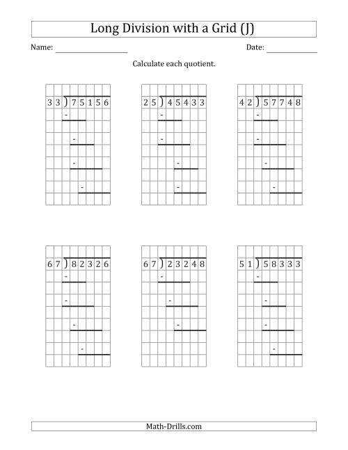 The 5-Digit by 2-Digit Long Division with Remainders with Grid Assistance and Prompts (J) Math Worksheet
