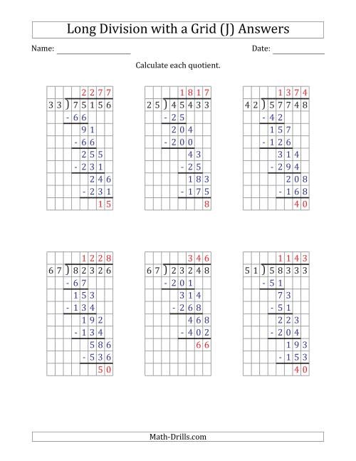 The 5-Digit by 2-Digit Long Division with Remainders with Grid Assistance and Prompts (J) Math Worksheet Page 2