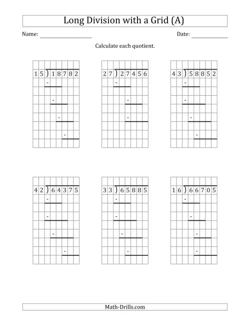 The 5-Digit by 2-Digit Long Division with Remainders with Grid Assistance and Prompts (All) Math Worksheet