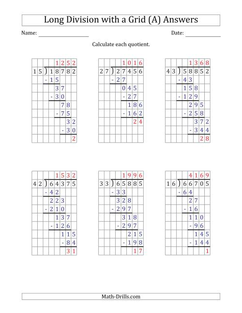 The 5-Digit by 2-Digit Long Division with Remainders with Grid Assistance and Prompts (All) Math Worksheet Page 2