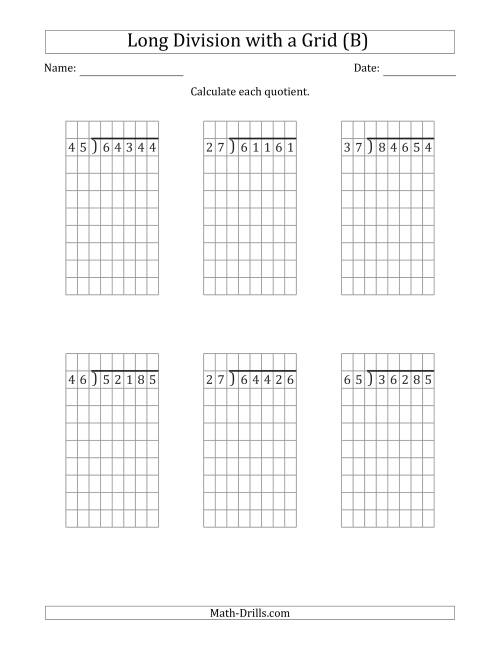 The 5-Digit by 2-Digit Long Division with Remainders with Grid Assistance (B) Math Worksheet