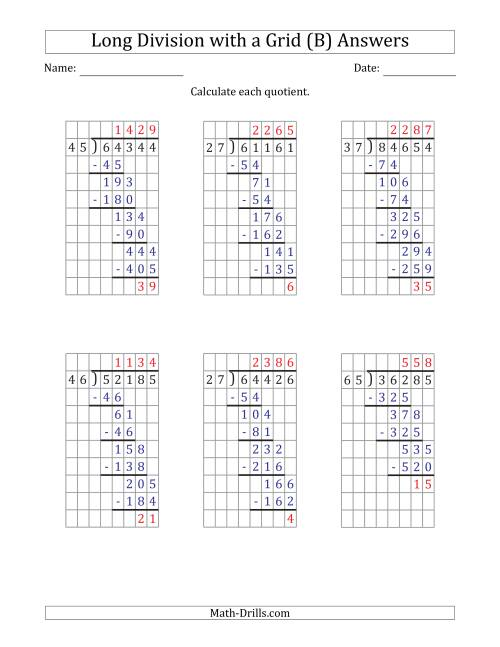 The 5-Digit by 2-Digit Long Division with Remainders with Grid Assistance (B) Math Worksheet Page 2