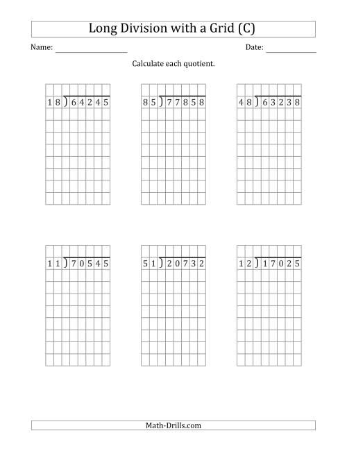 The 5-Digit by 2-Digit Long Division with Remainders with Grid Assistance (C) Math Worksheet
