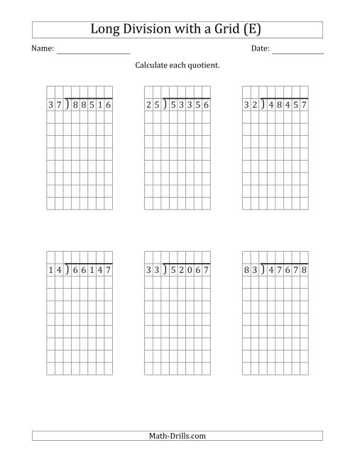 The 5-Digit by 2-Digit Long Division with Remainders with Grid Assistance (E) Math Worksheet