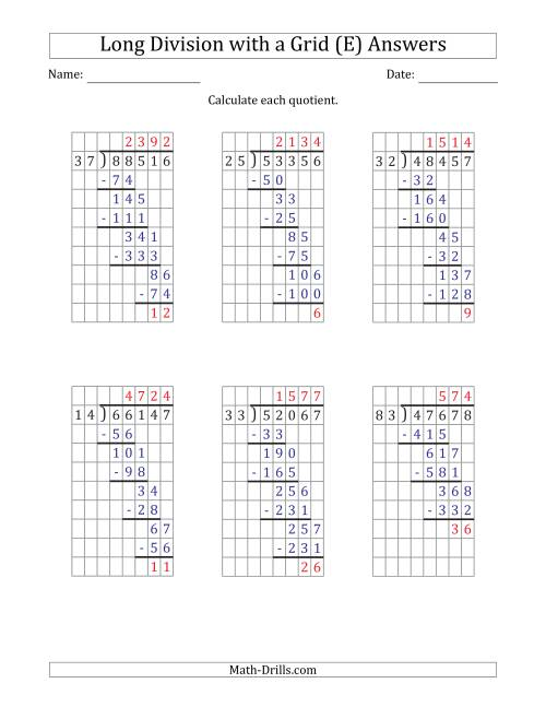 The 5-Digit by 2-Digit Long Division with Remainders with Grid Assistance (E) Math Worksheet Page 2