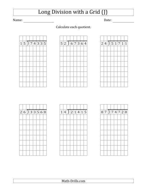 The 5-Digit by 2-Digit Long Division with Remainders with Grid Assistance (J) Math Worksheet