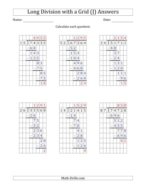 The 5-Digit by 2-Digit Long Division with Remainders with Grid Assistance (J) Math Worksheet Page 2