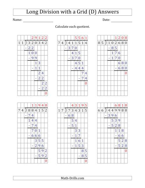 The 6-Digit by 2-Digit Long Division with Grid Assistance and NO Remainders (D) Math Worksheet Page 2