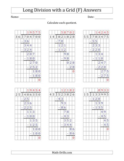 The 6-Digit by 2-Digit Long Division with Grid Assistance and NO Remainders (F) Math Worksheet Page 2