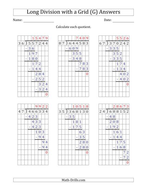 The 6-Digit by 2-Digit Long Division with Grid Assistance and NO Remainders (G) Math Worksheet Page 2