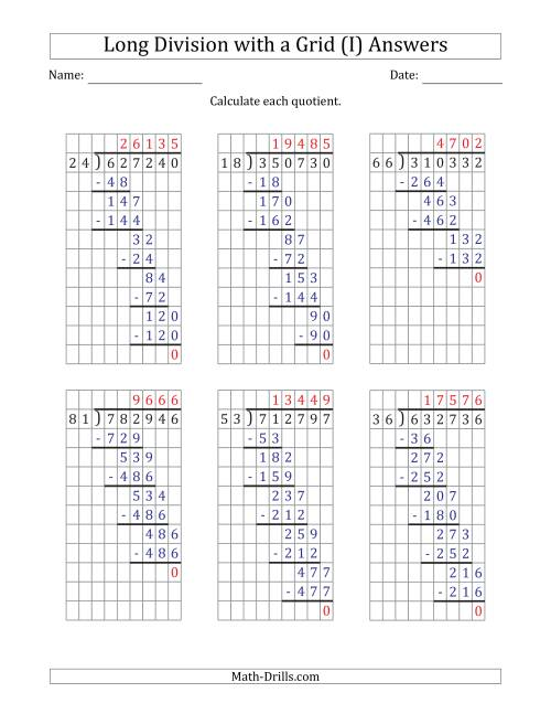 The 6-Digit by 2-Digit Long Division with Grid Assistance and NO Remainders (I) Math Worksheet Page 2